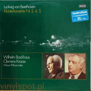 BEETHOVEN Koncerty fortepianowe nr 2, 4, 5 BACKHAUS KRAUSS 2 LP d 104